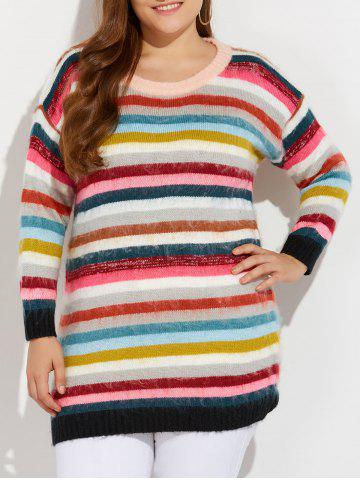Hot Plus Size Multicolor Striped Sweater COLORFUL 3XL
