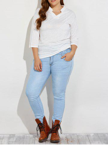 Buy Plus Size High Waist Buttoned Jeans