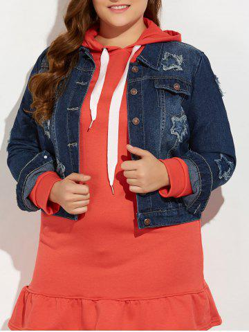 Cheap Plus Size Buttoned Star Graphic Jean Jacket