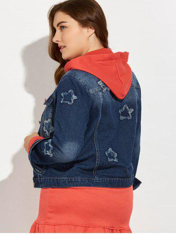 Buy Plus Size Buttoned Star Graphic Jean Jacket - 4XL BLUE Mobile