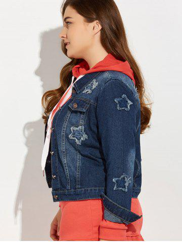Trendy Plus Size Buttoned Star Graphic Jean Jacket - 4XL BLUE Mobile