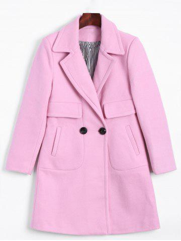 Lapel Two Buckle Plus Size Wool Coat - Pink - L