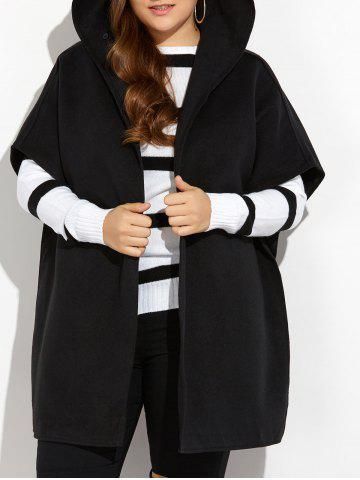 Online Hooded Open Front Wool Cape Coat BLACK 5XL