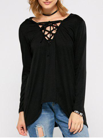 Fashion Hooded Lace Up High Low T-Shirt
