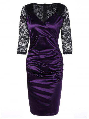 Lace Panel Satin Ruched Cocktail Dress - Purple - S