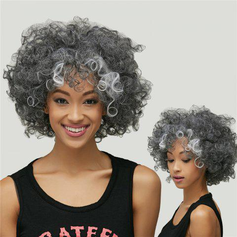 Cheap Gracefully Short Afro Curly Grey Silver Women's Synthetic Hair Wig