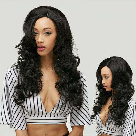 Outfit Gracefully Long Side Parting Black Loose Wave Women's Synthetic Hair Wig BLACK