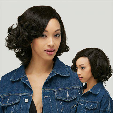 Store Shaggy Short Curly Capless Side Parting Heat Resistant Synthetic Wig BLACK