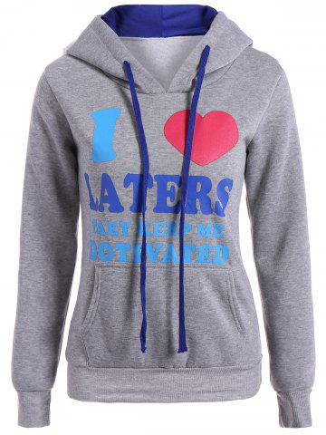 New Letter Heart Print Pullover Hoodie GRAY 2XL