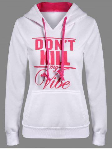 Affordable Letter Print Front Pocket Pullover Hoodie WHITE 2XL