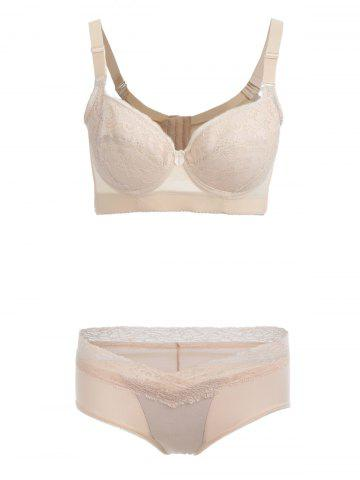 Affordable Push Up Lace Insert See Thru Bra Set SKIN COLOR 90C