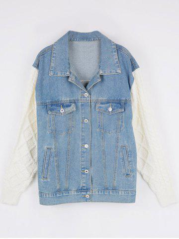 Outfit Knitted Sleeve Insert Denim Jacket