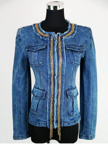Buy Embellished Zip Up Denim Jacket BLUE L