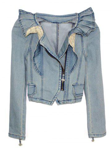 Discount Side Zip Cropped Denim Jacket