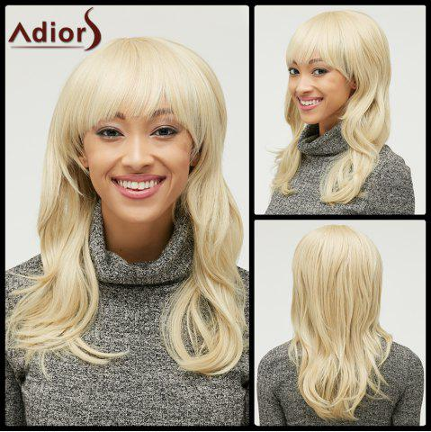 Latest Fluffy Light Blonde Trendy Natural Wave Full Bang Long Heat Resistant Synthetic Capless Wig For Women GOLDEN