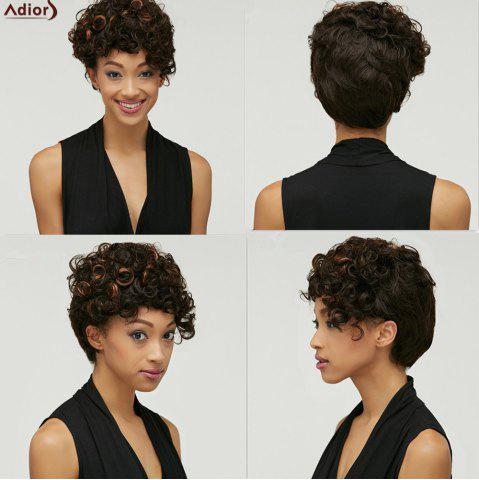 Shaggy Kinky Curly Black Brown Mixed Synthetic Trendy Short Side Bang Wig For Women - Colormix - S