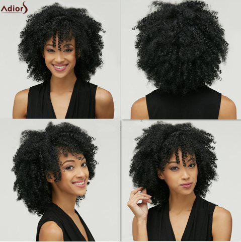Adiors Fashion Medium Capless Fluffy Afro Curly Heat Resistant Fiber Wig For Women - Black - S