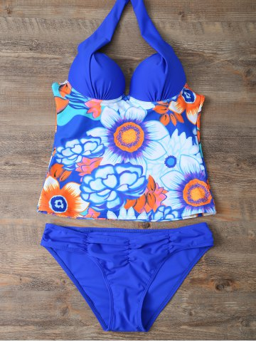 Best Halter Floral Underwire Padded Push Up Tankini Bathing Suit BLUE L
