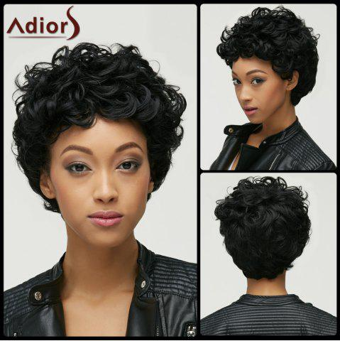 Fashion Black Short Capless Fluffy Curly Synthetic Wig For Women - Black - S