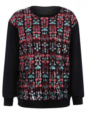 Sequined Embroidered Loose Sweatshirt