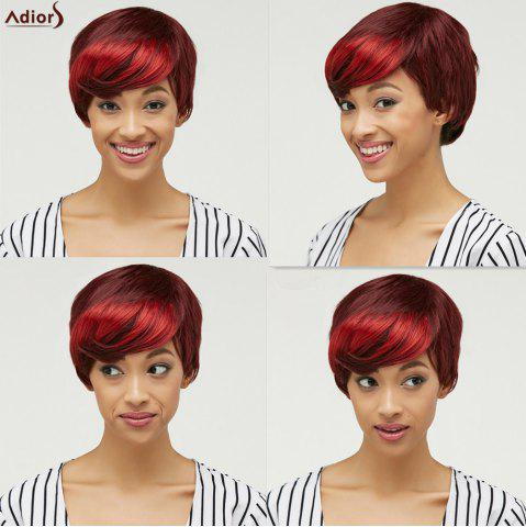 Buy Trendy Side Bang Red Mixed Brown Fluffy Straight Short Synthetic Wig For Women COLORMIX