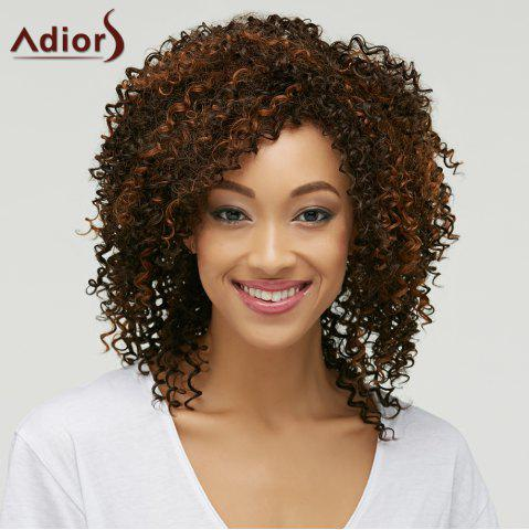 Shops Trendy Brown Mixed Medium Capless Fluffy Curly Synthetic Wig For Women