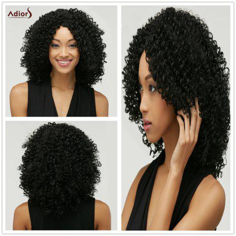 Shop Fashion Black Towheaded Afro Curly Heat Resistant Synthetic Medium Capless Wig For Women
