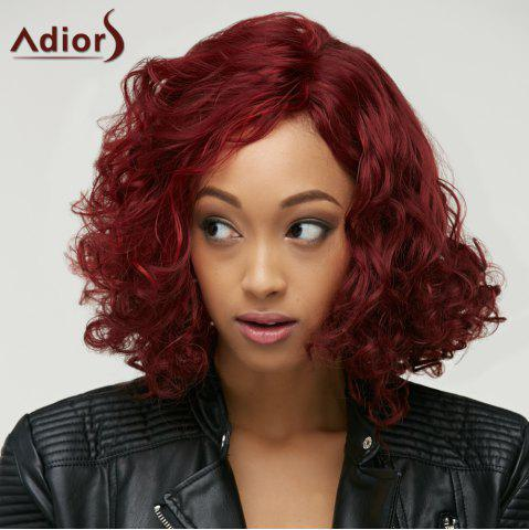Sparkling Wine Red Medium Big Curly Women's Synthetic Capless Wig - WINE RED