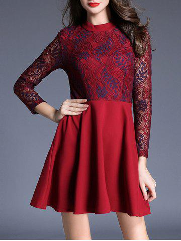 New Lace Panel Fit and Flare Mini Dress