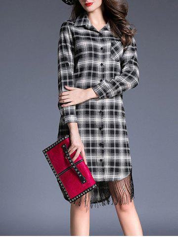 Chic Grid Fringe Shirt Dress