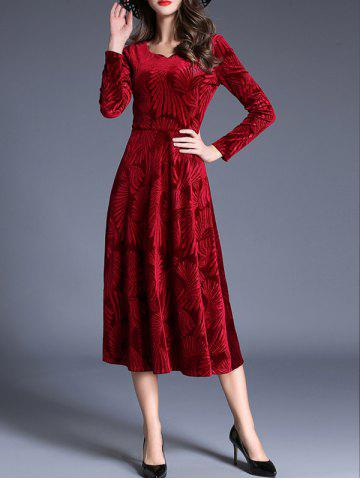 Store Midi Velvet Jacquard Long Sleeve Swing Dress WINE RED S