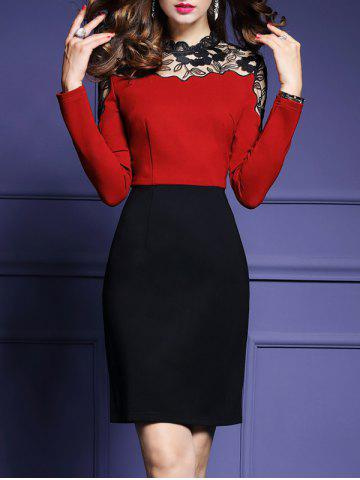 Outfits High Waist Lace Panel Sheath Work Dress RED S