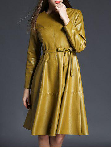 New PU Leather Long Sleeve A Line Dress With Belt YELLOW XL