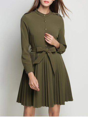 Discount Pleated High Waist Flare Dress With Belt