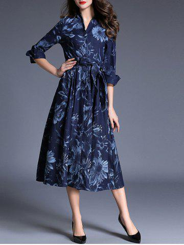 Discount Midi Denim Print Work A Line Dress DENIM BLUE XL