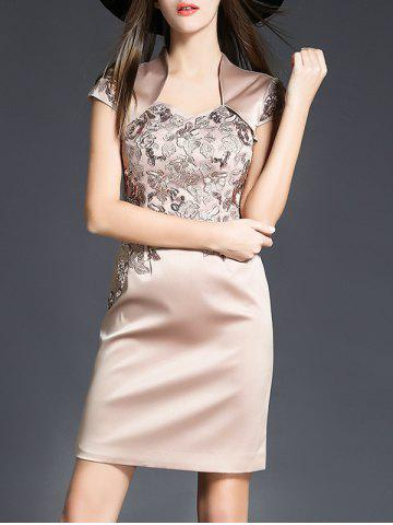 Chic Satin Embroidery Mini Cocktail Dress