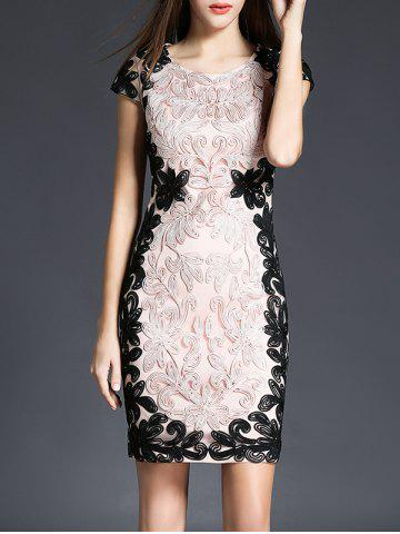 Embroidery Lace Short Sheath Formal Dress - Pink - L