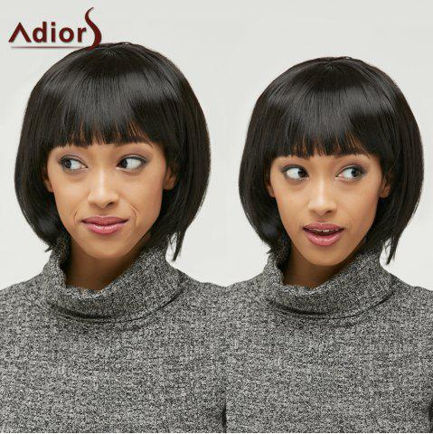 Discount Bob Style Straight Black Capless Elegant Short Synthetic Wig For Women BLACK