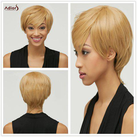 Shops Trendy Mixed Color Short Fluffy Side Bang Women's Synthetic Hair Wig