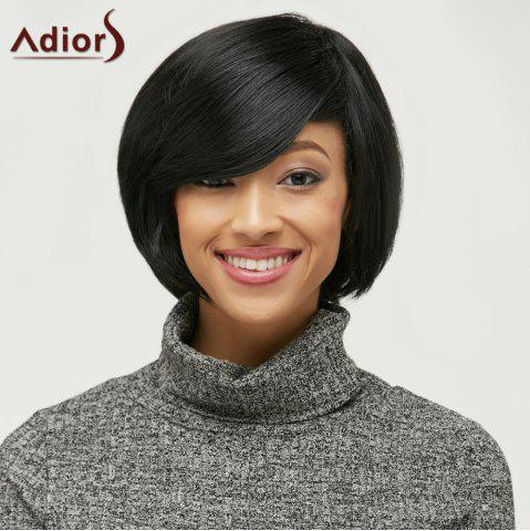 Store Short Side Bang Fluffy Capless Synthetic Wig BLACK