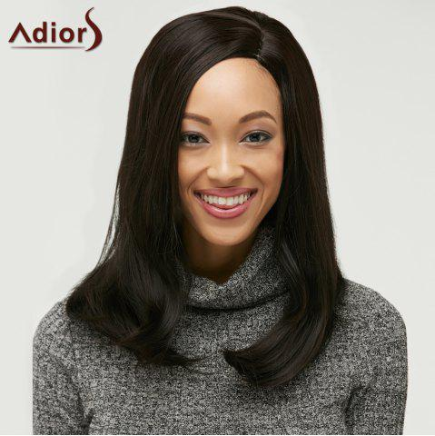 Unique Long Side Parting Straight Synthetic Wig BLACK BROWN