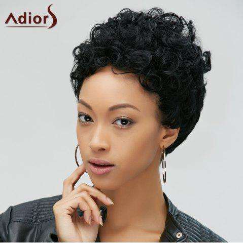 Buy Short Fluffy Curly Heat Resistant Fiber Wig BLACK