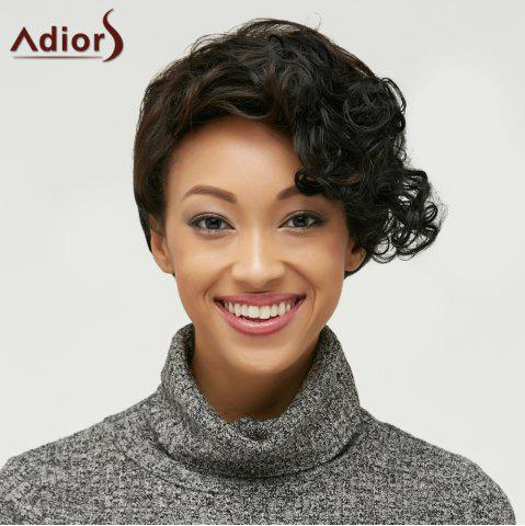Discount Short Fluffy Curly Side Bang Heat Resistant Fiber Wig COLORMIX