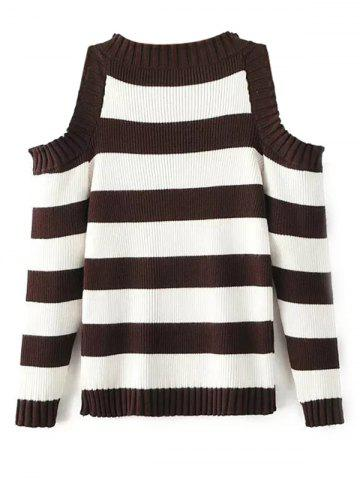 Trendy Cold Shoulder Striped Sweater