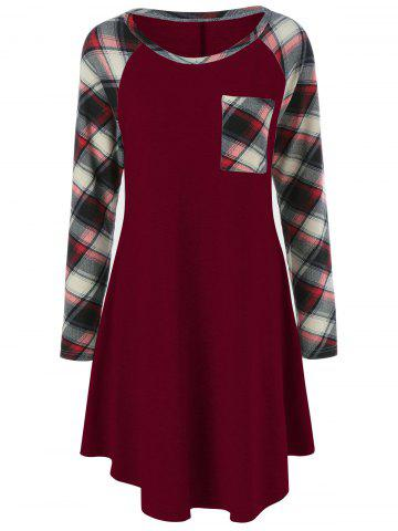 New Plaid Trim Single Pocket Tee Dress BURGUNDY L
