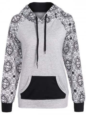 Outfit Casual Drawstring Tribal Print Hoodie GRAY XL