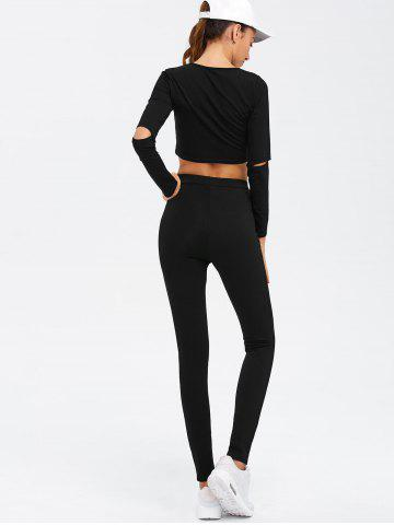 Chic Crop Top and Cut Out Pants Twinset - M BLACK Mobile