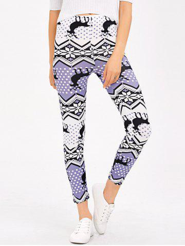 Christmas Fair Isle Stretchy Leggings - Light Purple - M