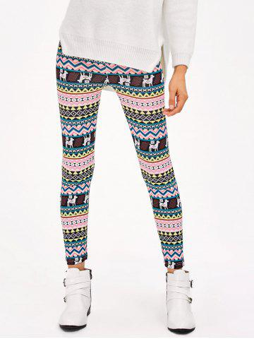 Cheap Christmas Patterned Stretchy Aztec Print Leggings MULTICO XL