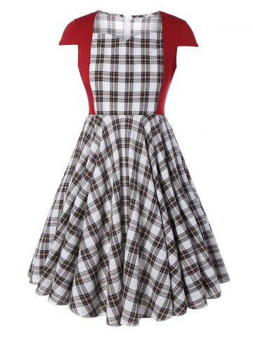Online Plus Size Checked Pin Up Midi Dress CHECKED 5XL